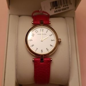 Anne Klein Red Leather Band Gold Face Watch